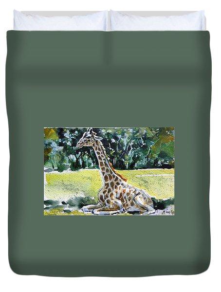 Duvet Cover featuring the painting Giraffe by Kovacs Anna Brigitta