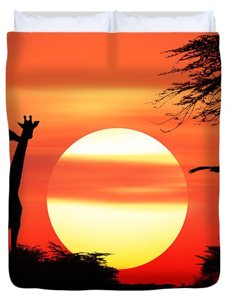 Giraffes At Sunset Duvet Cover