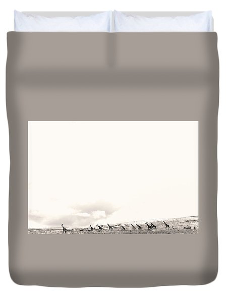 Duvet Cover featuring the photograph Giraffes by Stefano Buonamici