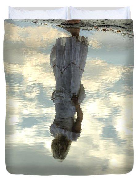 Girl And The Sky Duvet Cover by Joana Kruse