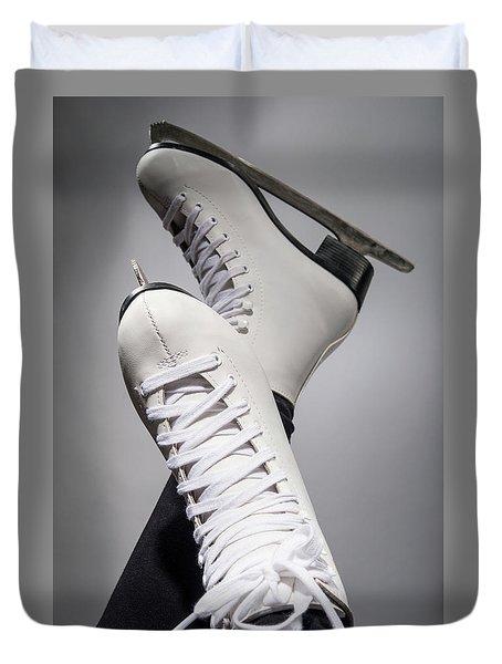 Girl In A New White Skates For Skating On Ice  Duvet Cover