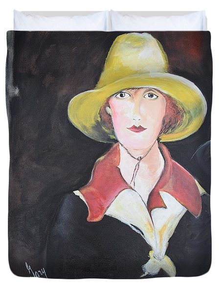 Duvet Cover featuring the painting Girl In Riding Hat by Gary Smith