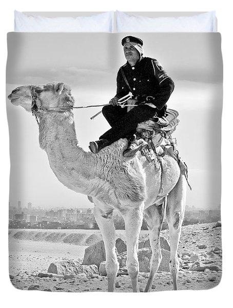 Giza Pyramids Camel Tourist Police Duvet Cover