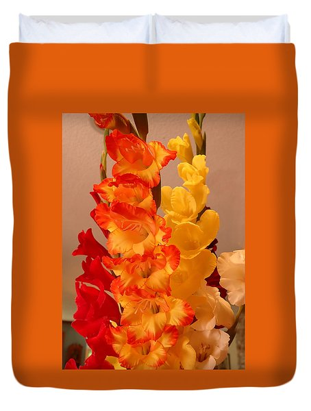 Duvet Cover featuring the photograph Gladiolas by Farol Tomson