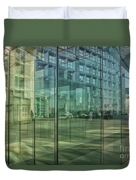 Duvet Cover featuring the photograph Glass Panels At Le Grande Arche by Patricia Hofmeester
