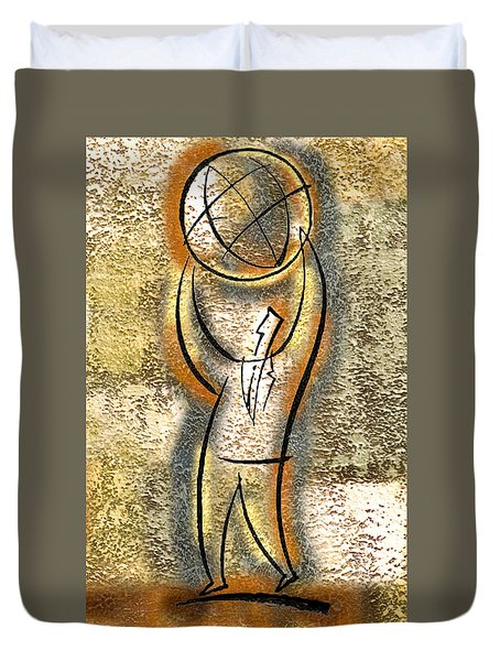Duvet Cover featuring the painting Globalization  by Leon Zernitsky