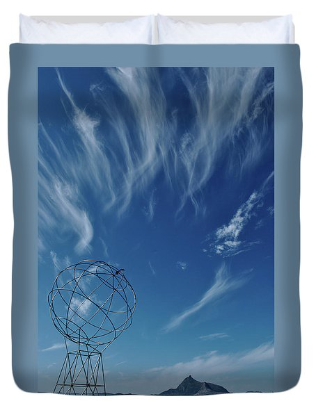 Globe Symbol View  On Sky Background In Norway Duvet Cover