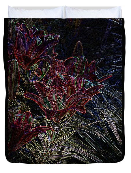Glowing Edge Lily Duvet Cover by Steven Clipperton