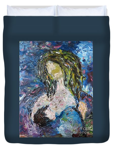 Duvet Cover featuring the painting God Bless The Baby by Reina Resto