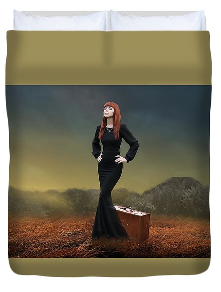 Duvet Cover featuring the mixed media Going Home by Marvin Blaine