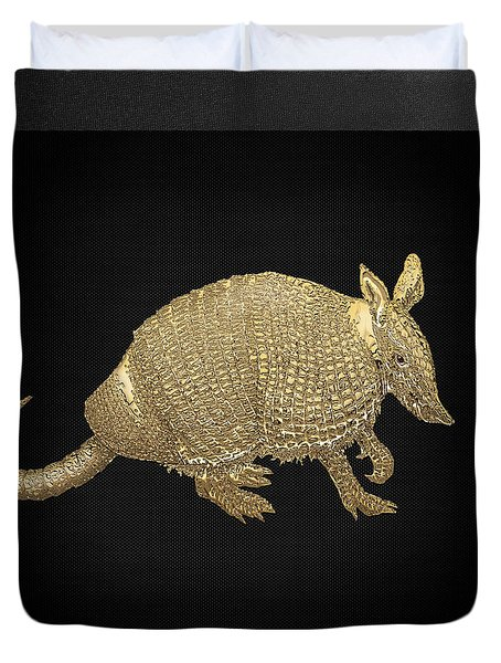 Gold Armadillo On Black Canvas Duvet Cover by Serge Averbukh