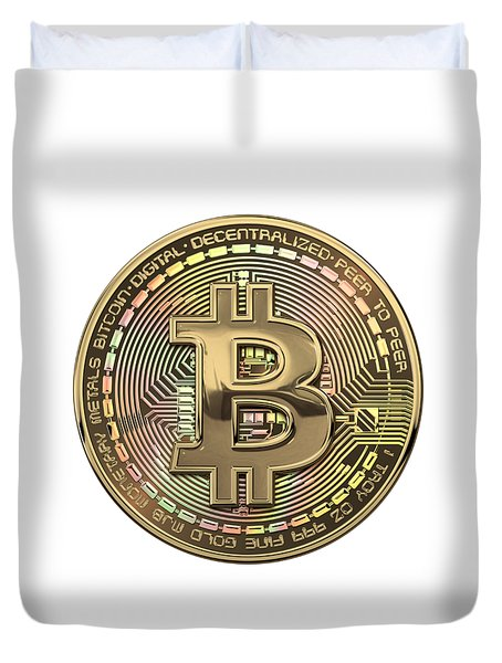 Gold Bitcoin Effigy Over White Leather Duvet Cover