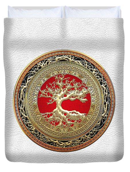 Gold Celtic Tree Of Life On White Leather  Duvet Cover