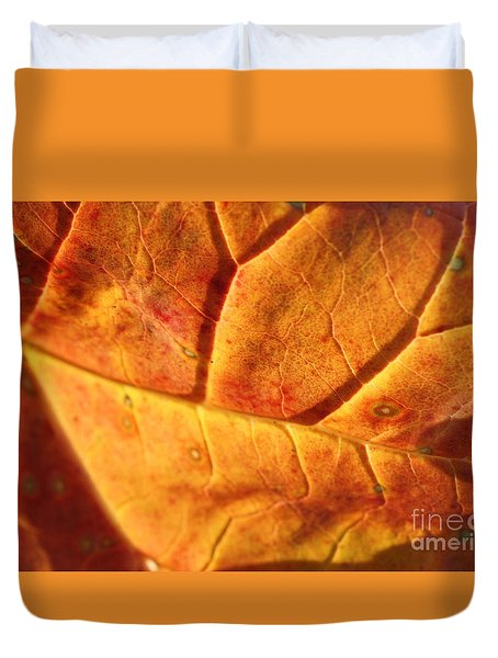 Duvet Cover featuring the photograph Gold Leaf by Brian Boyle