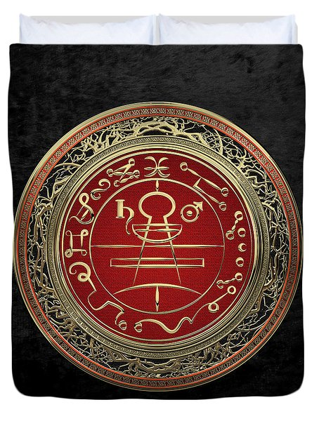 Gold Seal Of Solomon - Lesser Key Of Solomon On Black Velvet  Duvet Cover