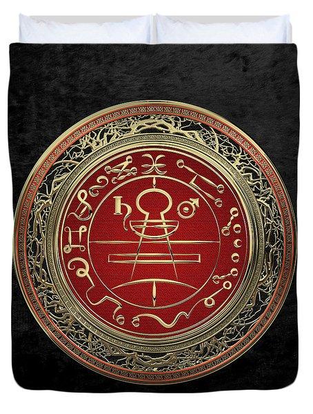 Gold Seal Of Solomon - Lesser Key Of Solomon On Black Velvet  Duvet Cover