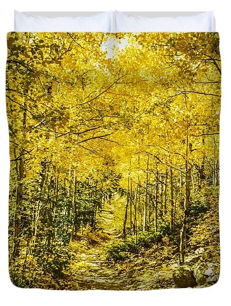 Golden Aspens In Colorado Mountains Duvet Cover