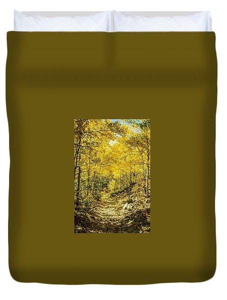 Golden Aspens In Colorado Mountains Duvet Cover