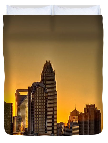 Golden Charlotte Skyline Duvet Cover