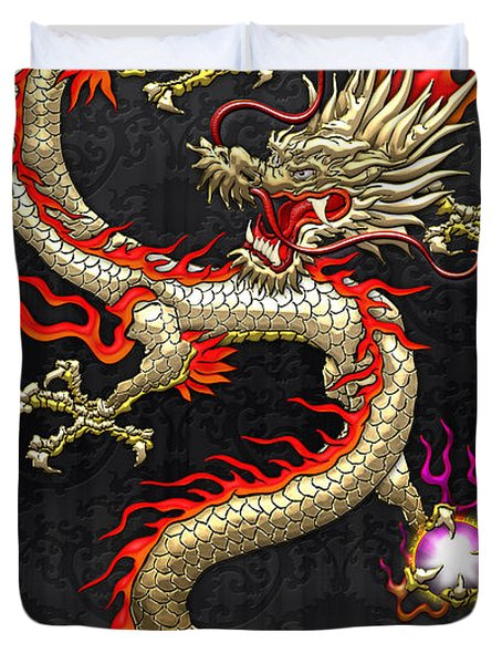 Golden Chinese Dragon Fucanglong  Duvet Cover