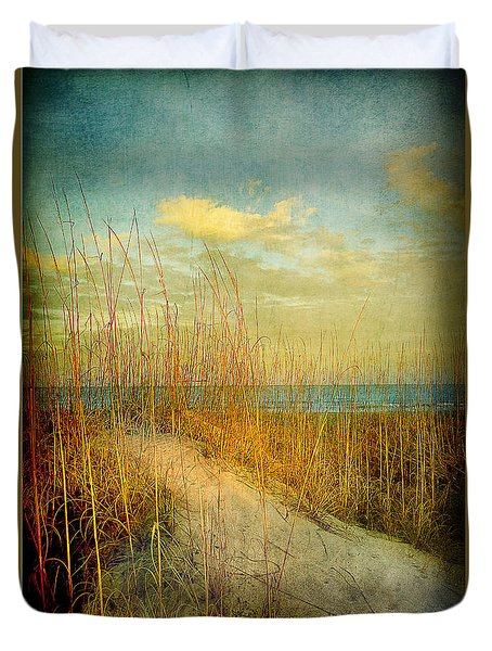 Duvet Cover featuring the photograph Golden Dune by Linda Olsen
