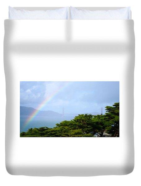 Golden Gate Bridge By Rainbow Duvet Cover