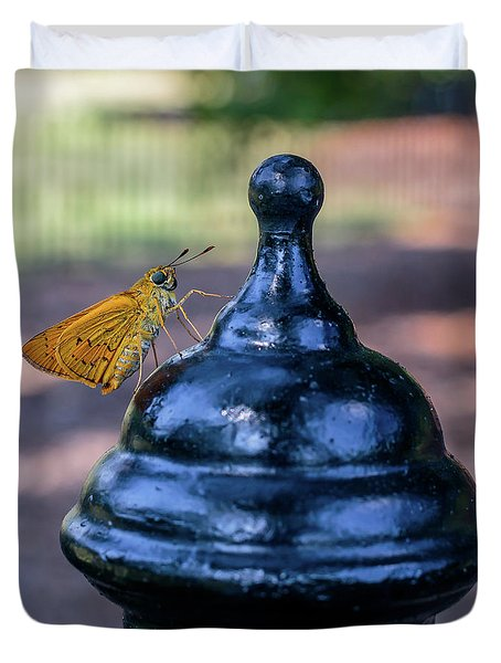 Duvet Cover featuring the photograph Golden Moth by Ray Shiu