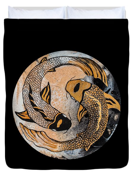 Golden Yin And Yang Duvet Cover