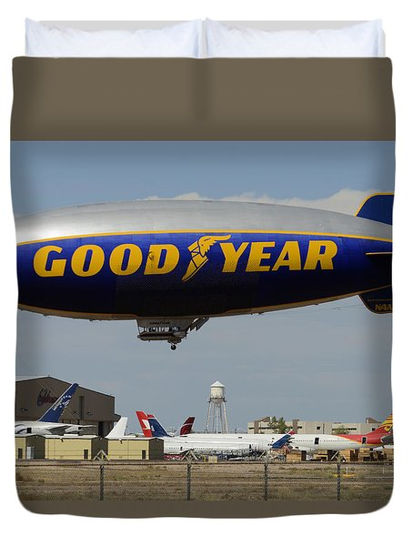 Goodyear Blimp Spirit Of Innovation Goodyear Arizona September 13 2015 Duvet Cover
