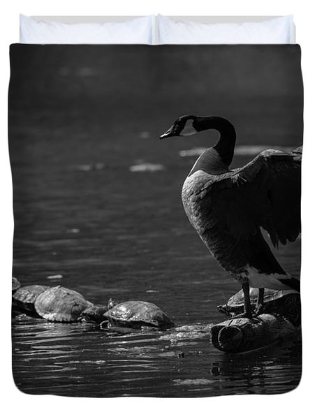 Duvet Cover featuring the photograph Goose And Turtles by JT Lewis