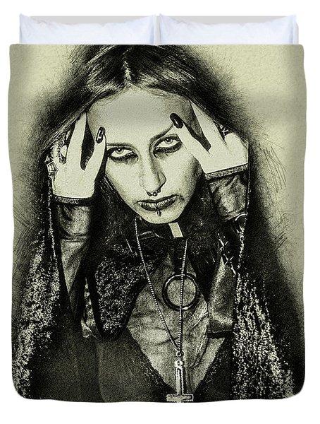 Gothic Female Model Duvet Cover