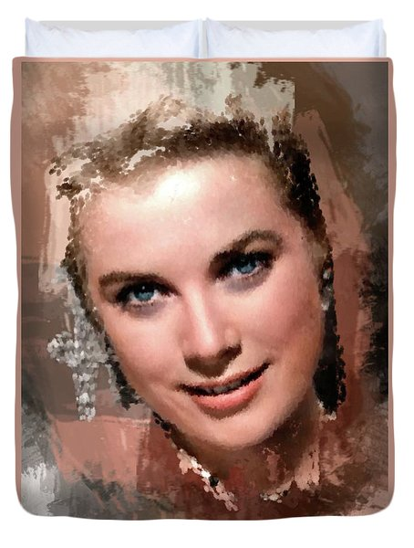 Grace Kelly, Vintage Hollywood Actress Duvet Cover by Mary Bassett