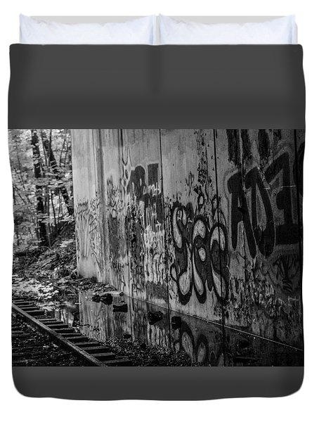 Graffitti And Train Tracks Duvet Cover