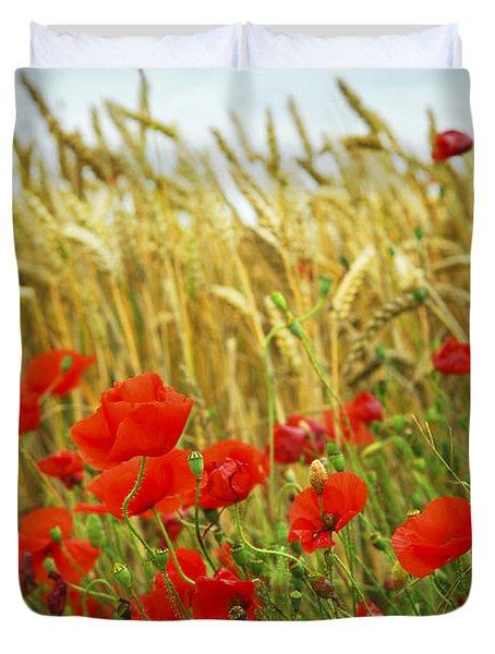 Grain And Poppy Field Duvet Cover by Elena Elisseeva