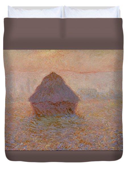 Grainstack, Sun In The Mist 1891 Duvet Cover