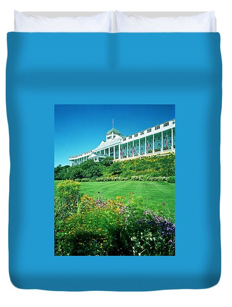 Grand Hotel From Tea Garden Duvet Cover