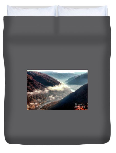 Grandview New River Gorge Duvet Cover by Thomas R Fletcher