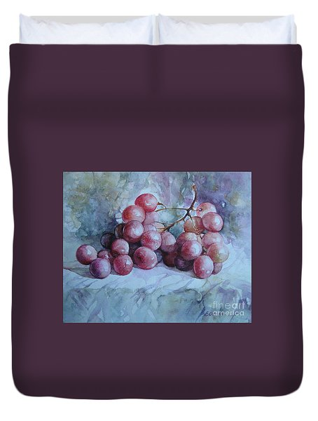 Duvet Cover featuring the painting Grapes... by Elena Oleniuc