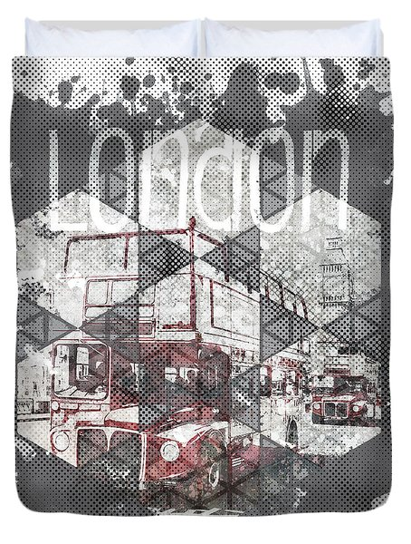 Graphic Art London Streetscene Duvet Cover by Melanie Viola