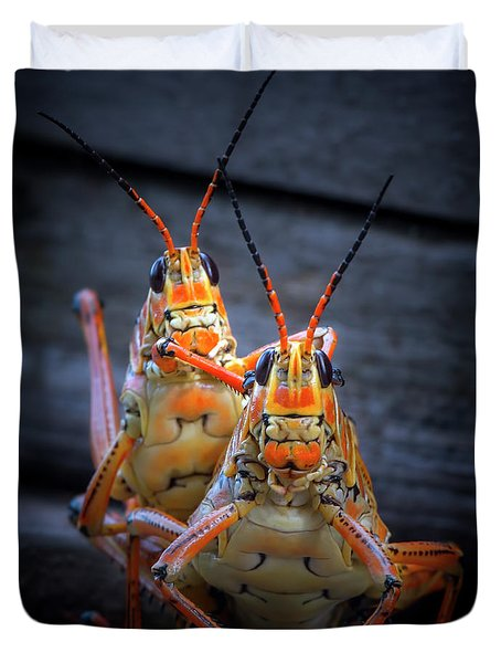 Grasshoppers In Love Duvet Cover by Mark Andrew Thomas