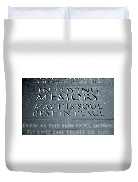 Gravestone In Loving Memory Duvet Cover