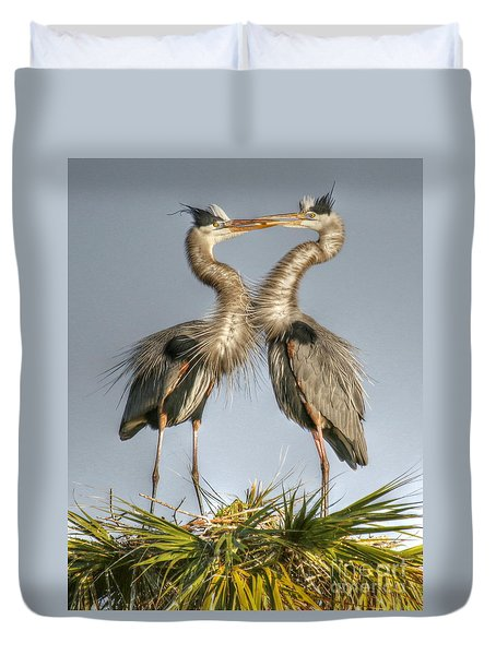 Great Blue Heron Couple Duvet Cover by Myrna Bradshaw