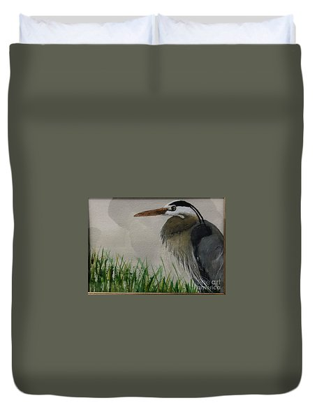 Duvet Cover featuring the painting Great Blue Heron by Donald Paczynski