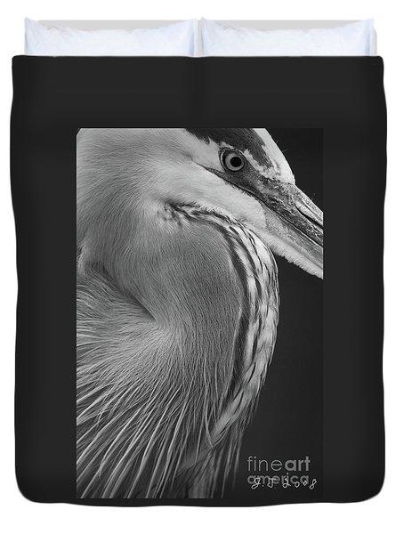 Great Blue Heron Eye Duvet Cover