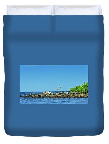Great Blue Heron On The Chesapeake Bay Duvet Cover