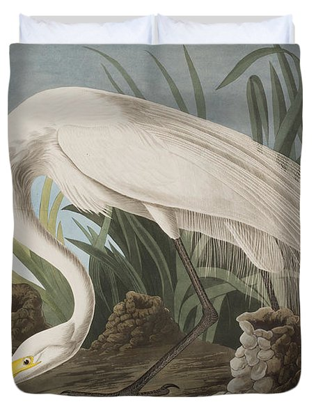 Great Egret Duvet Cover by John James Audubon