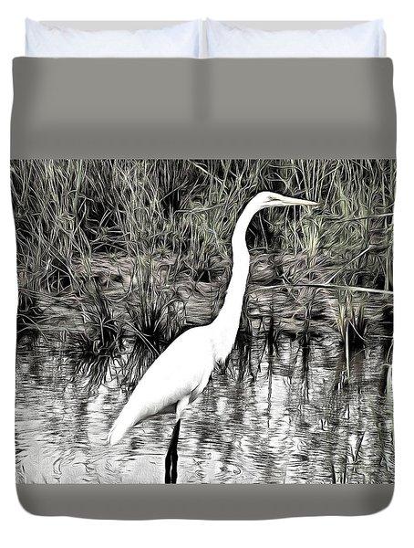 Duvet Cover featuring the photograph Great Egret by Maciek Froncisz