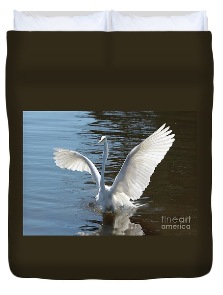 Great Egret Wings Duvet Cover by Carol Groenen