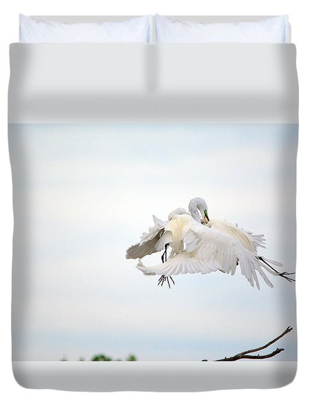 Great Egrets Mating Dispute Series  Duvet Cover