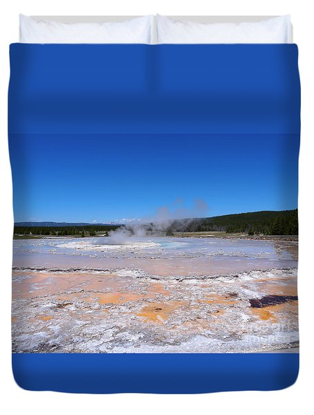 Great Fountain Geyser In Yellowstone National Park Duvet Cover by Louise Heusinkveld